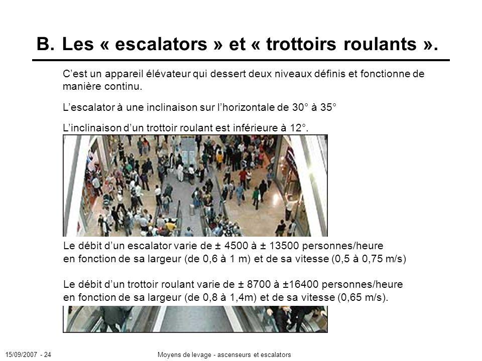 15/09/2007 - 24Moyens de levage - ascenseurs et escalators B.