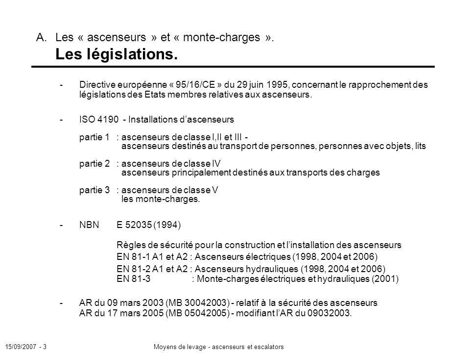15/09/2007 - 3Moyens de levage - ascenseurs et escalators -Directive européenne « 95/16/CE » du 29 juin 1995, concernant le rapprochement des législations des Etats membres relatives aux ascenseurs.