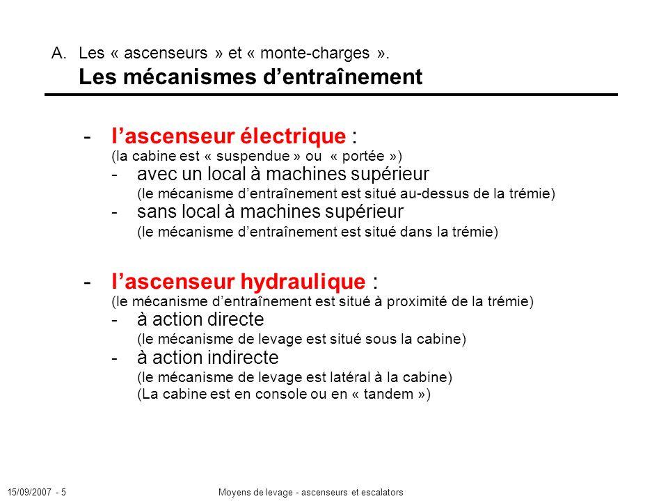 15/09/2007 - 5Moyens de levage - ascenseurs et escalators - lascenseur électrique : (la cabine est « suspendue » ou « portée ») -avec un local à machines supérieur (le mécanisme dentraînement est situé au-dessus de la trémie) -sans local à machines supérieur (le mécanisme dentraînement est situé dans la trémie) -lascenseur hydraulique : (le mécanisme dentraînement est situé à proximité de la trémie) -à action directe (le mécanisme de levage est situé sous la cabine) -à action indirecte (le mécanisme de levage est latéral à la cabine) (La cabine est en console ou en « tandem ») A.Les « ascenseurs » et « monte-charges ».