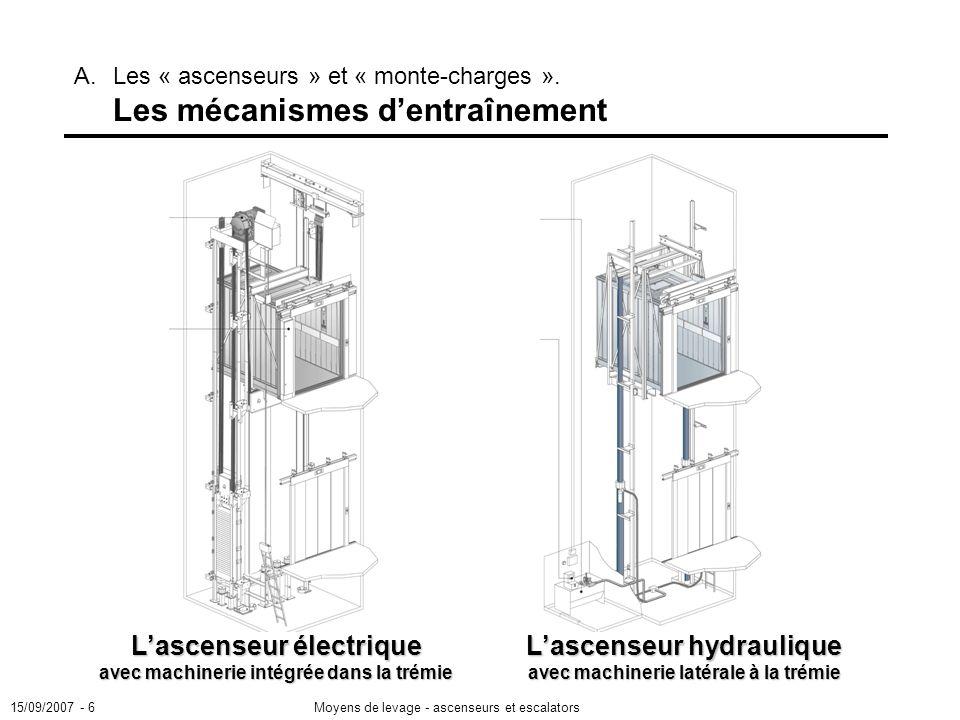 15/09/2007 - 6Moyens de levage - ascenseurs et escalators Lascenseur électrique avec machinerie intégrée dans la trémie A.Les « ascenseurs » et « monte-charges ».