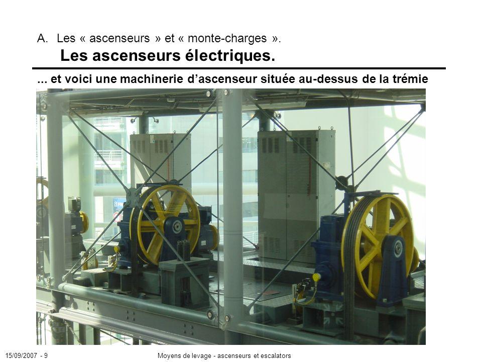 15/09/2007 - 9Moyens de levage - ascenseurs et escalators A.Les « ascenseurs » et « monte-charges ».
