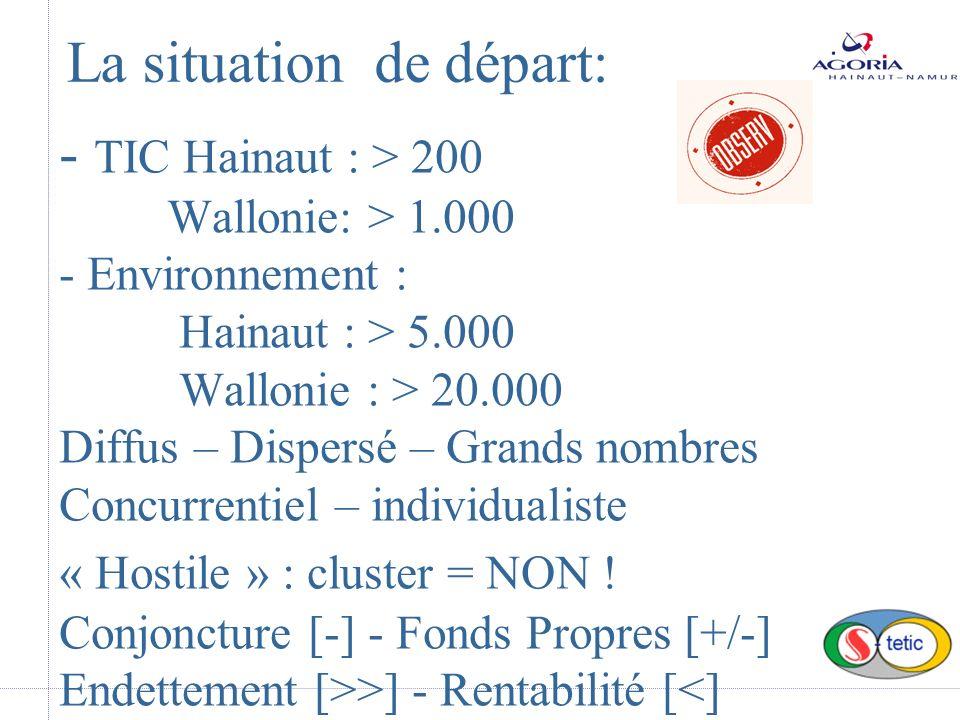 - TIC Hainaut : > 200 Wallonie: > 1.000 - Environnement : Hainaut : > 5.000 Wallonie : > 20.000 Diffus – Dispersé – Grands nombres Concurrentiel – individualiste « Hostile » : cluster = NON .