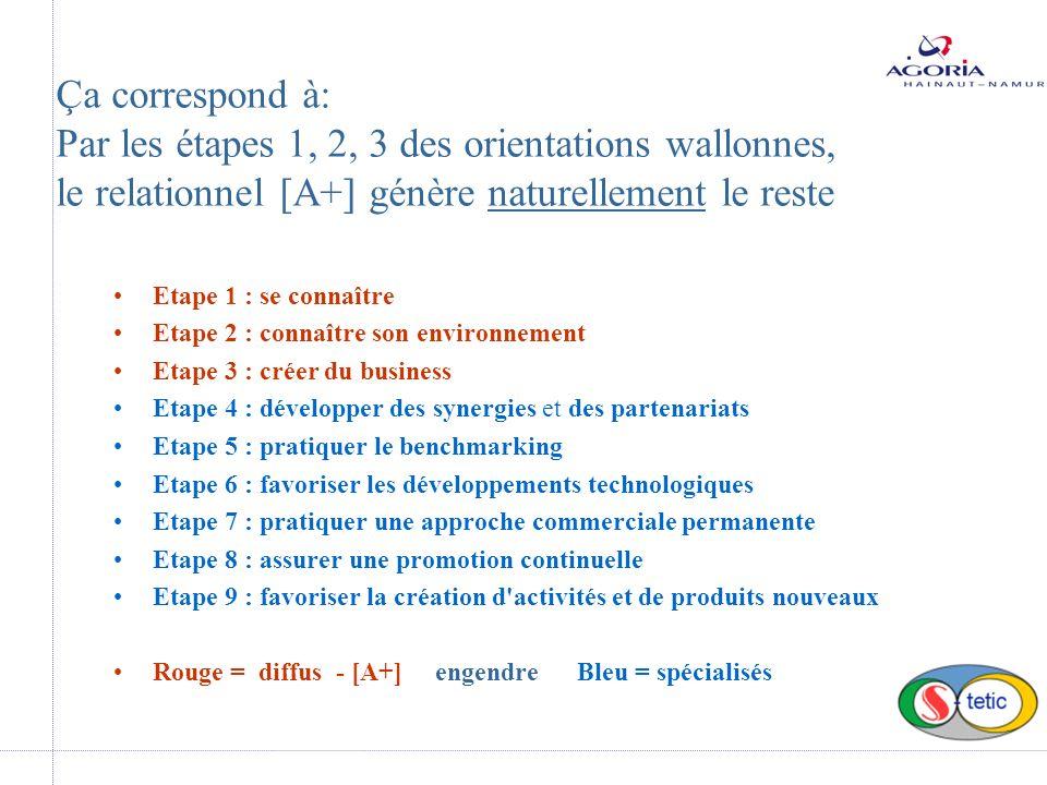 Etape 1 : se connaître Etape 2 : connaître son environnement Etape 3 : créer du business Etape 4 : développer des synergies et des partenariats Etape 5 : pratiquer le benchmarking Etape 6 : favoriser les développements technologiques Etape 7 : pratiquer une approche commerciale permanente Etape 8 : assurer une promotion continuelle Etape 9 : favoriser la création d activités et de produits nouveaux Rouge = diffus - [A+] engendre Bleu = spécialisés Ça correspond à: Par les étapes 1, 2, 3 des orientations wallonnes, le relationnel [A+] génère naturellement le reste