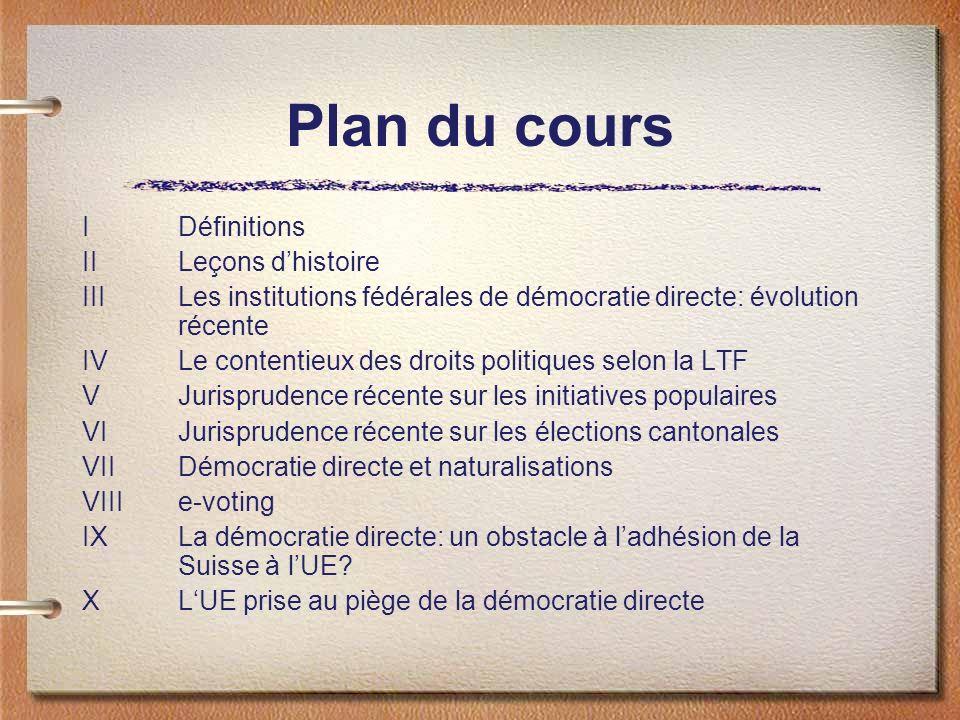 Plan du cours IDéfinitions IILeçons dhistoire IIILes institutions fédérales de démocratie directe: évolution récente IVLe contentieux des droits polit