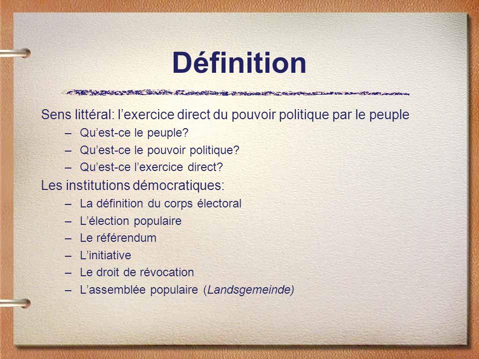 Définition Sens littéral: lexercice direct du pouvoir politique par le peuple –Quest-ce le peuple? –Quest-ce le pouvoir politique? –Quest-ce lexercice