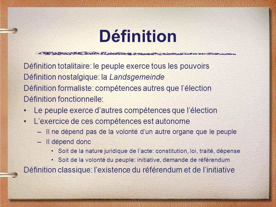 Définition Définition totalitaire: le peuple exerce tous les pouvoirs Définition nostalgique: la Landsgemeinde Définition formaliste: compétences autr
