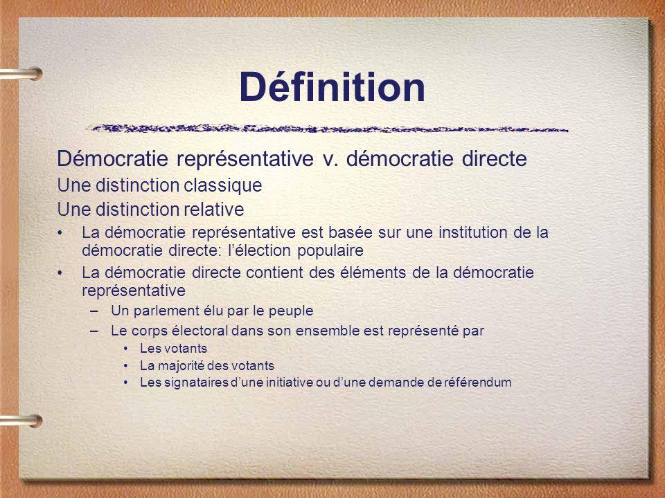 Définition Démocratie représentative v. démocratie directe Une distinction classique Une distinction relative La démocratie représentative est basée s