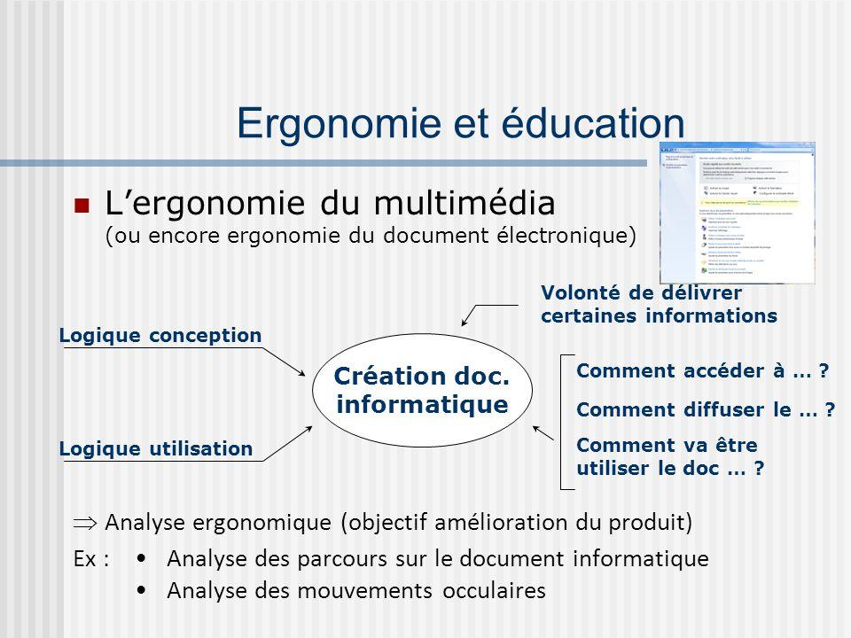 Lergonomie du multimédia (ou encore ergonomie du document électronique) Analyse ergonomique (objectif amélioration du produit) Ex : Analyse des parcou