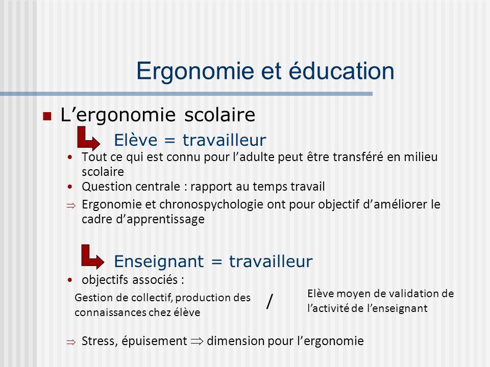 Lergonomie scolaire Elève = travailleur Tout ce qui est connu pour ladulte peut être transféré en milieu scolaire Question centrale : rapport au temps