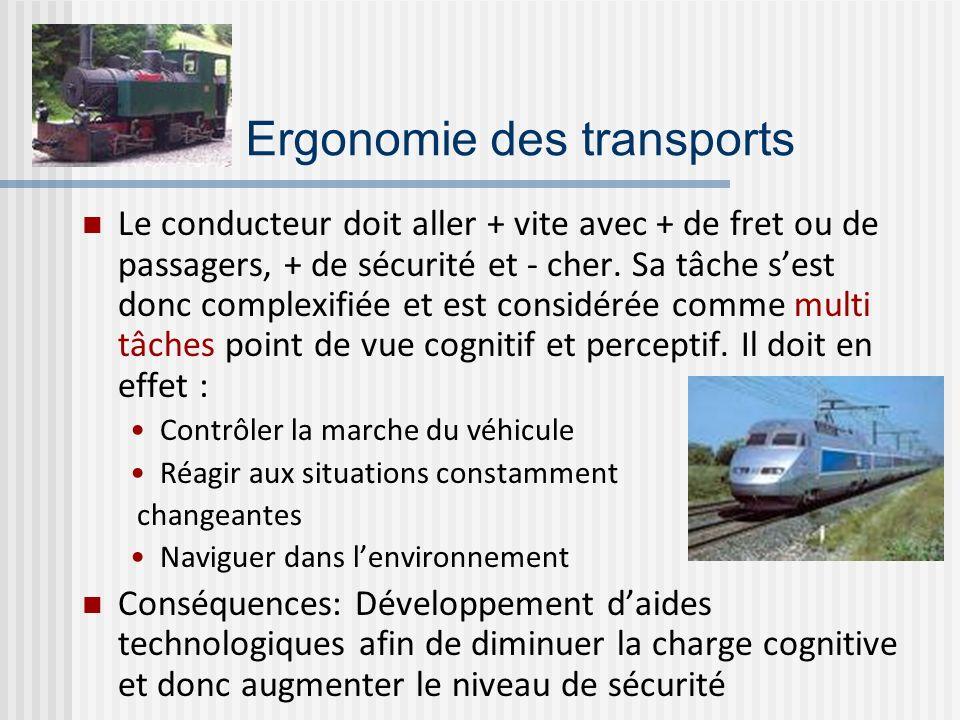 Ergonomie des transports Le conducteur doit aller + vite avec + de fret ou de passagers, + de sécurité et - cher. Sa tâche sest donc complexifiée et e