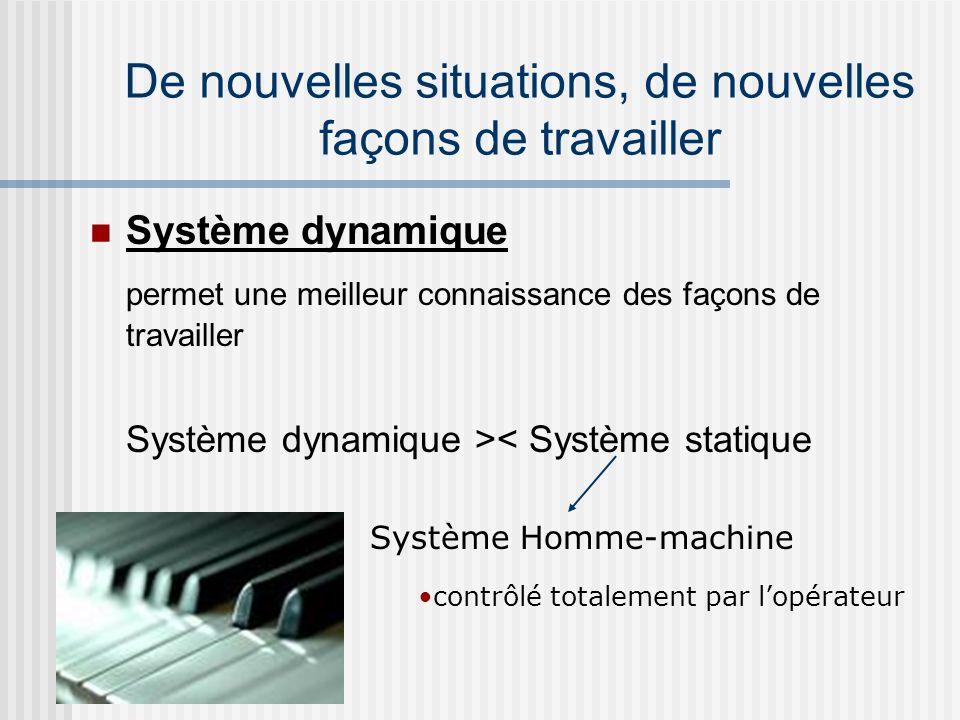 Système dynamique permet une meilleur connaissance des façons de travailler Système dynamique >< Système statique Système Homme-machine contrôlé total