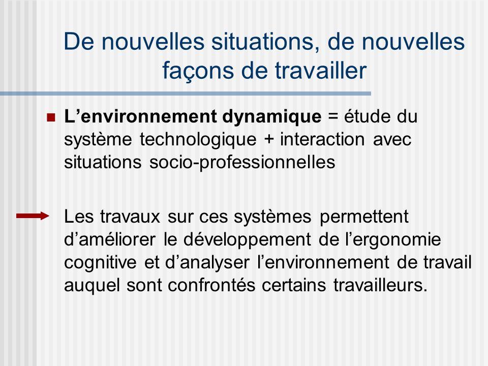 Lenvironnement dynamique = étude du système technologique + interaction avec situations socio-professionnelles Les travaux sur ces systèmes permettent