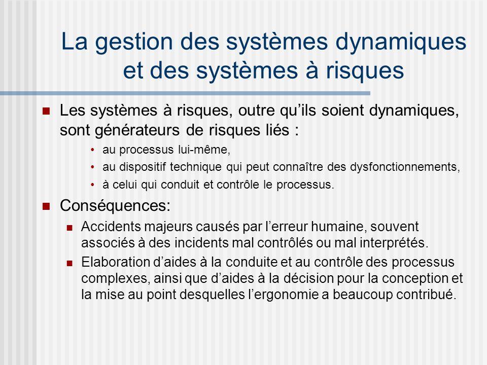 La gestion des systèmes dynamiques et des systèmes à risques Les systèmes à risques, outre quils soient dynamiques, sont générateurs de risques liés :