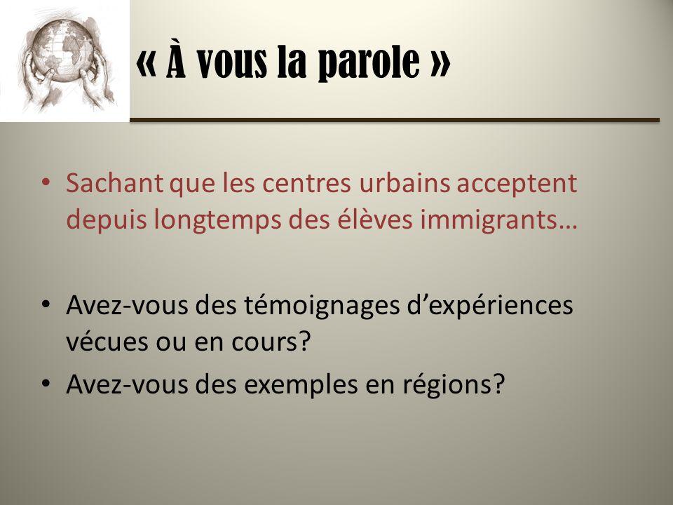 « À vous la parole » Sachant que les centres urbains acceptent depuis longtemps des élèves immigrants… Avez-vous des témoignages dexpériences vécues ou en cours.