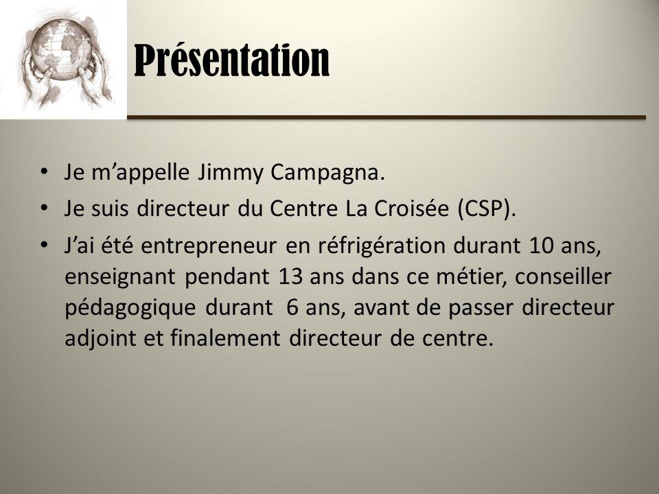 Présentation Je mappelle Jimmy Campagna. Je suis directeur du Centre La Croisée (CSP).