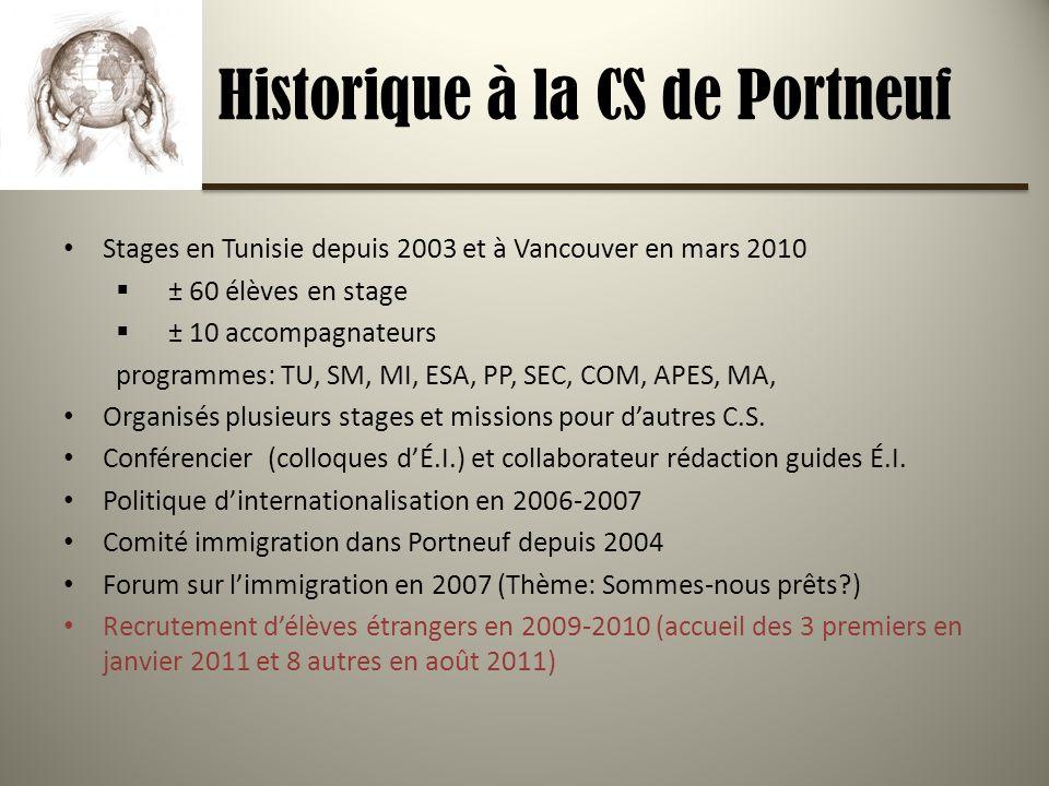 Historique à la CS de Portneuf Stages en Tunisie depuis 2003 et à Vancouver en mars 2010 ± 60 élèves en stage ± 10 accompagnateurs programmes: TU, SM, MI, ESA, PP, SEC, COM, APES, MA, Organisés plusieurs stages et missions pour dautres C.S.