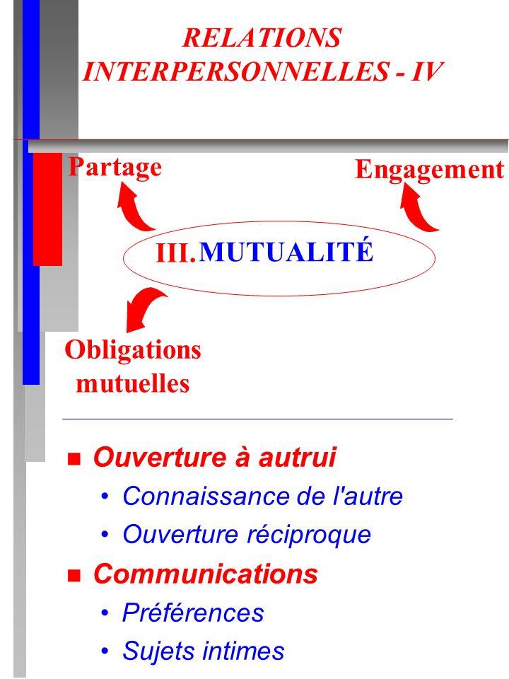 RELATIONS INTERPERSONNELLES - IV n Ouverture à autrui Connaissance de l'autre Ouverture réciproque n Communications Préférences Sujets intimes MUTUALI