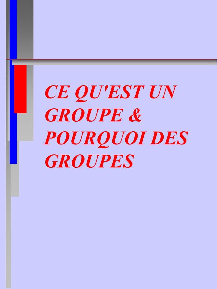 CE QU'EST UN GROUPE & POURQUOI DES GROUPES