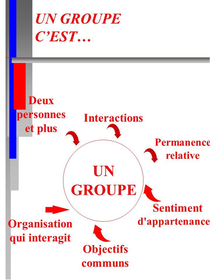 UN GROUPE CEST… UN GROUPE Deux personnes et plus Interactions Permanence relative Organisation qui interagit Objectifs communs Sentiment d'appartenanc