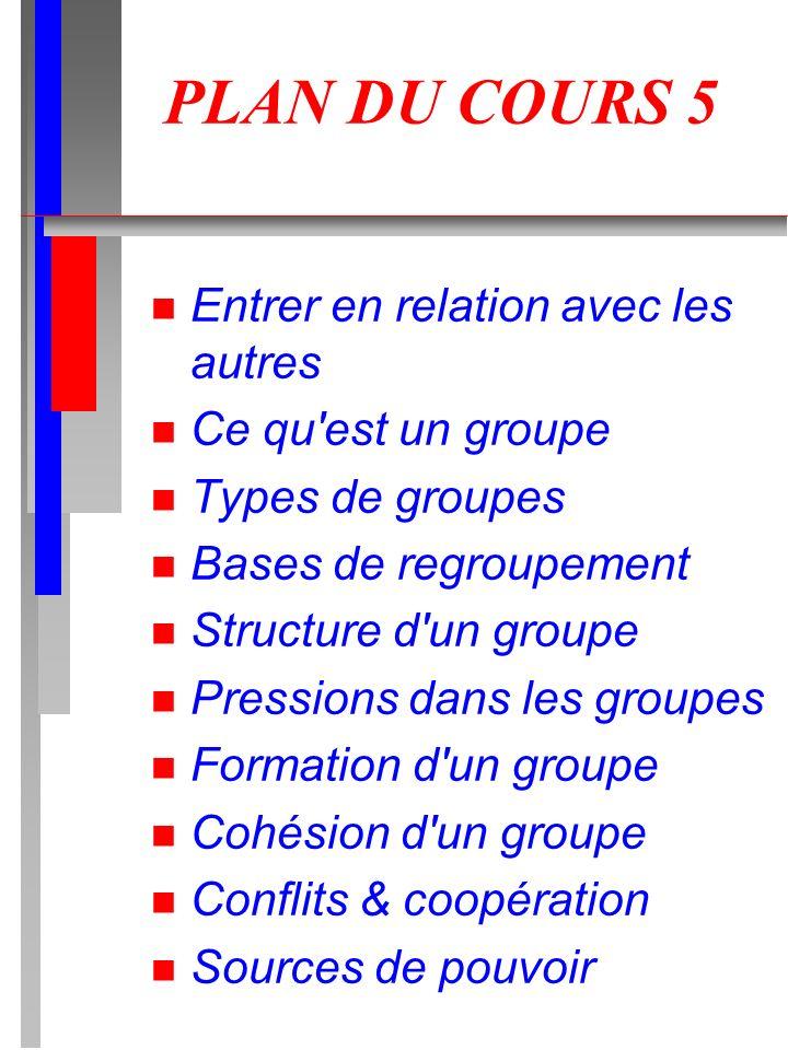 PLAN DU COURS 5 n Entrer en relation avec les autres n Ce qu'est un groupe n Types de groupes n Bases de regroupement n Structure d'un groupe n Pressi