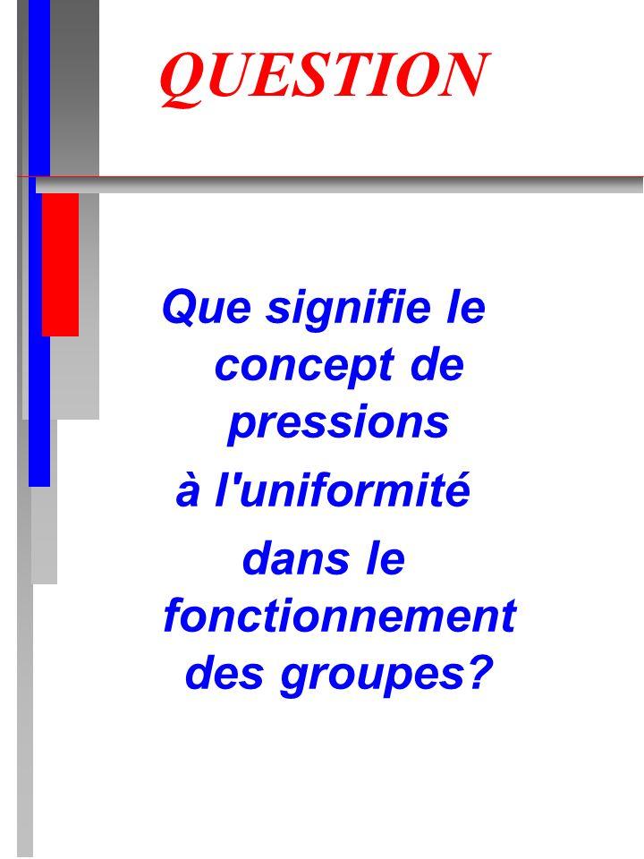 QUESTION Que signifie le concept de pressions à l'uniformité dans le fonctionnement des groupes?