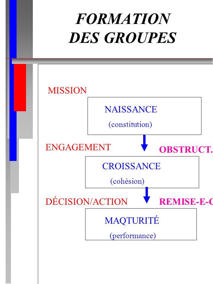 FORMATION DES GROUPES NAISSANCE (constitution) CROISSANCE (cohésion) MAQTURITÉ (performance) MISSION ENGAGEMENT DÉCISION/ACTION OBSTRUCT. REMISE-E-C