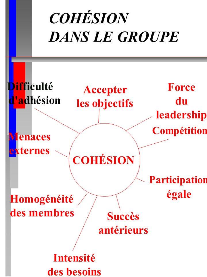 COHÉSION DANS LE GROUPE COHÉSION Difficulté d'adhésion Accepter les objectifs Homogénéité des membres Participation égale Compétition Menaces externes