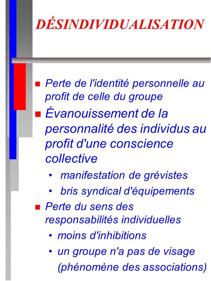 DÉSINDIVIDUALISATION n Perte de l'identité personnelle au profit de celle du groupe n Évanouissement de la personnalité des individus au profit d'une