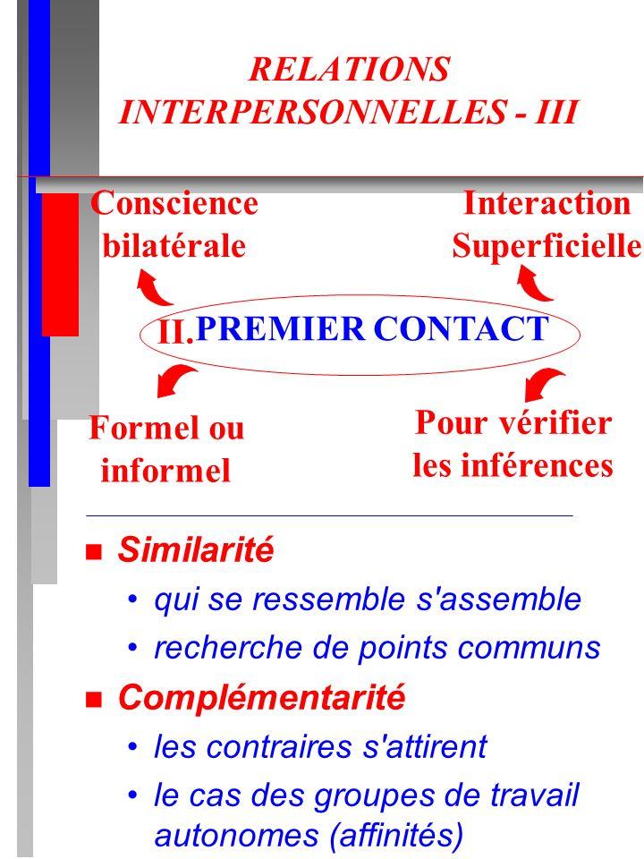 RELATIONS INTERPERSONNELLES - III n Similarité qui se ressemble s'assemble recherche de points communs n Complémentarité les contraires s'attirent le