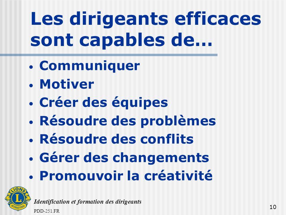 Identification et formation des dirigeants PDD-251.FR 10 Les dirigeants efficaces sont capables de… Communiquer Motiver Créer des équipes Résoudre des
