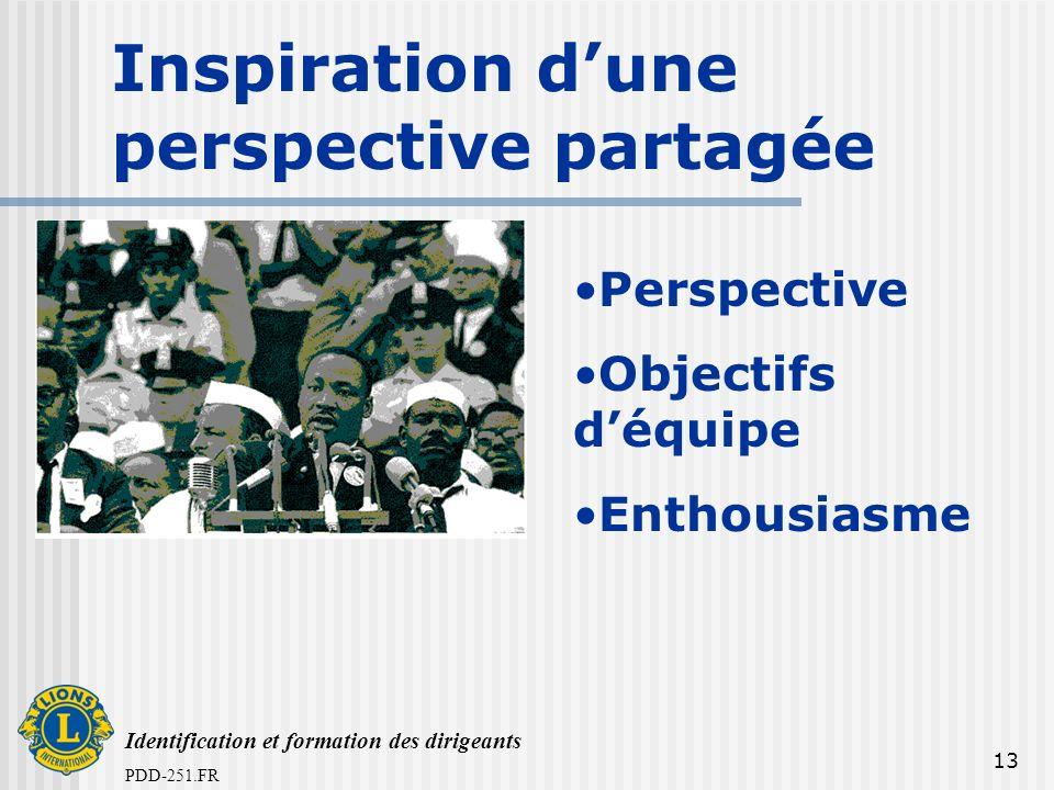 Identification et formation des dirigeants PDD-251.FR 13 Inspiration dune perspective partagée Perspective Objectifs déquipe Enthousiasme