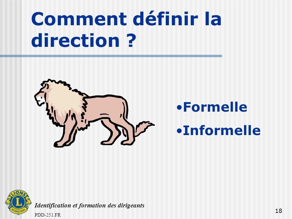 Identification et formation des dirigeants PDD-251.FR 18 Comment définir la direction ? Formelle Informelle