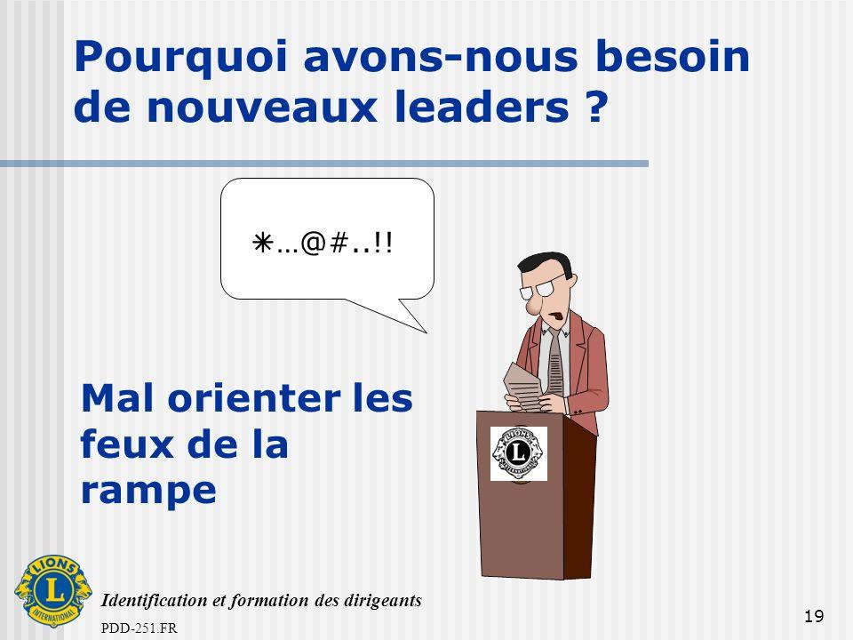 Identification et formation des dirigeants PDD-251.FR 19 Pourquoi avons-nous besoin de nouveaux leaders ? …@#..!! Mal orienter les feux de la rampe