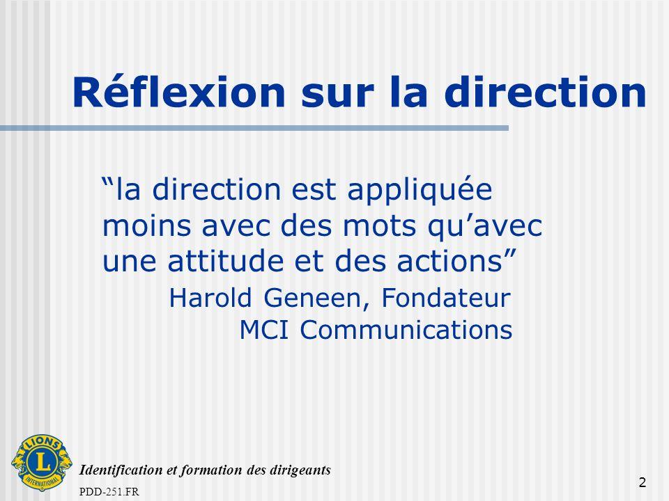 PDD-251.FR 2 Réflexion sur la direction la direction est appliquée moins avec des mots quavec une attitude et des actions Harold Geneen, Fondateur MCI Communications