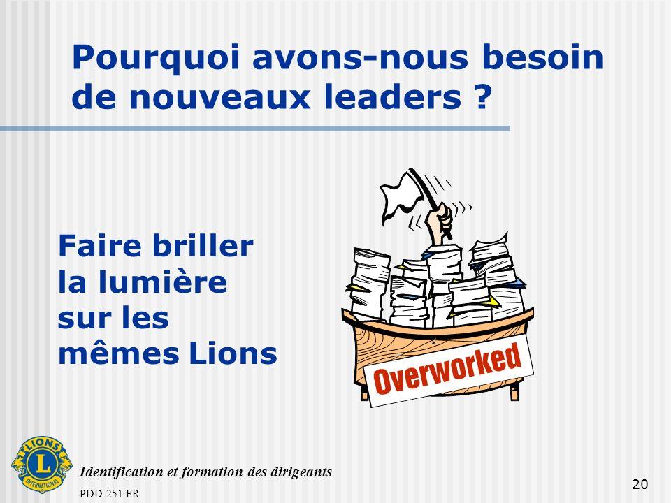Identification et formation des dirigeants PDD-251.FR 20 Pourquoi avons-nous besoin de nouveaux leaders ? Faire briller la lumière sur les mêmes Lions