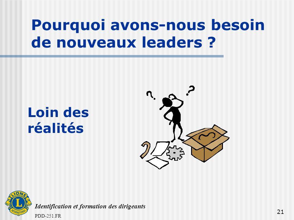 Identification et formation des dirigeants PDD-251.FR 21 Pourquoi avons-nous besoin de nouveaux leaders ? Loin des réalités