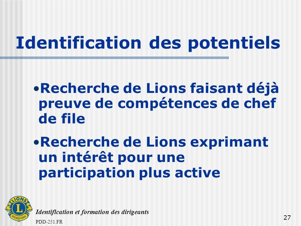 Identification et formation des dirigeants PDD-251.FR 27 Identification des potentiels Recherche de Lions faisant déjà preuve de compétences de chef de file Recherche de Lions exprimant un intérêt pour une participation plus active