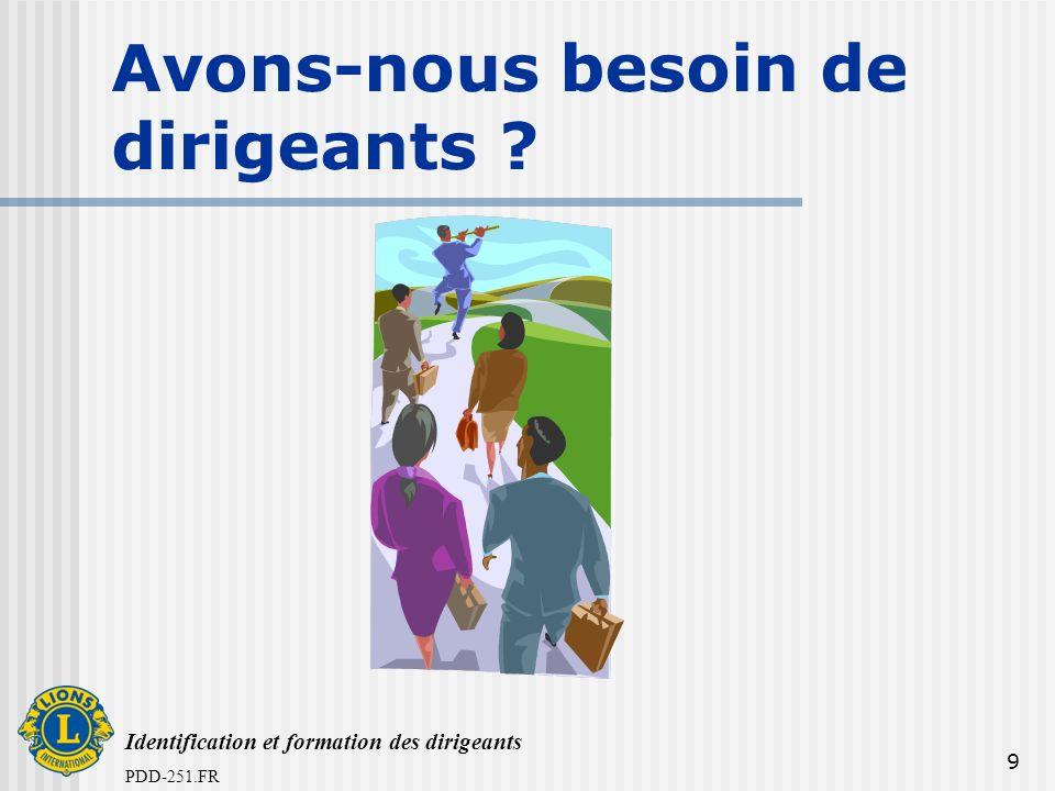 Identification et formation des dirigeants PDD-251.FR 9 Avons-nous besoin de dirigeants ?