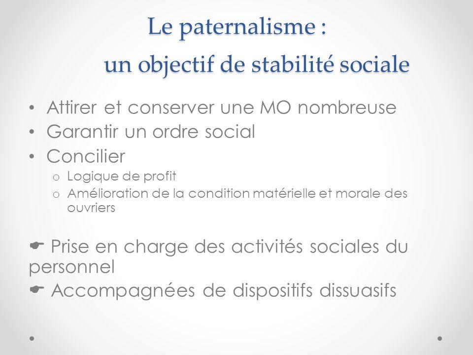 Le paternalisme : un objectif de stabilité sociale Attirer et conserver une MO nombreuse Garantir un ordre social Concilier o Logique de profit o Amél