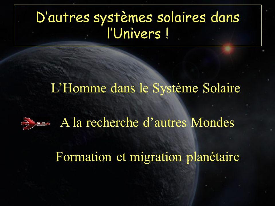 Dautres systèmes solaires dans lUnivers ! LHomme dans le Système Solaire A la recherche dautres Mondes Formation et migration planétaire