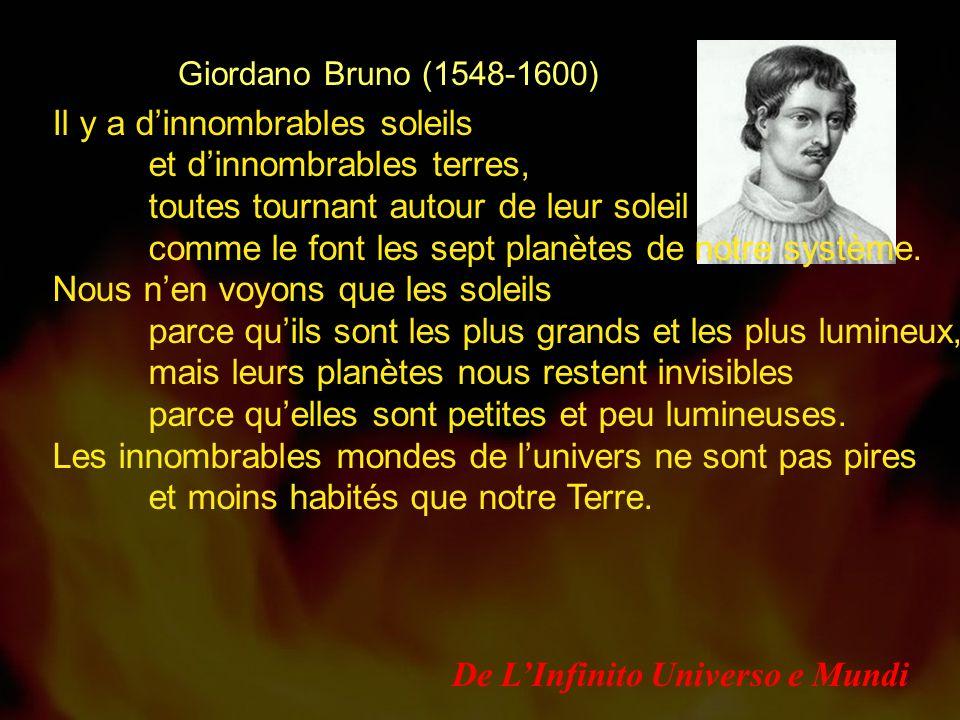 Giordano Bruno (1548-1600) Il y a dinnombrables soleils et dinnombrables terres, toutes tournant autour de leur soleil comme le font les sept planètes de notre système.