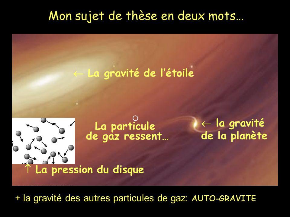 Mon sujet de thèse en deux mots… La particule de gaz ressent… la gravité de la planète La gravité de létoile La pression du disque + la gravité des autres particules de gaz: AUTO-GRAVITE