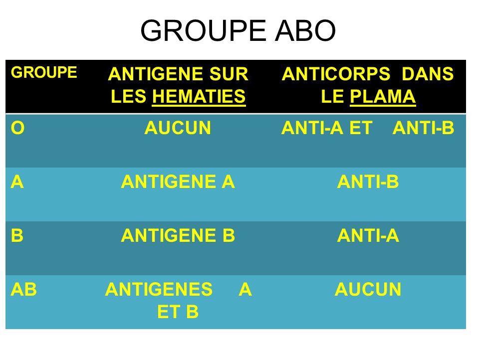 GROUPE ABO GROUPE ANTIGENE SUR LES HEMATIES ANTICORPS DANS LE PLAMA OAUCUNANTI-A ET ANTI-B AANTIGENE AANTI-B BANTIGENE BANTI-A ABANTIGENES A ET B AUCU