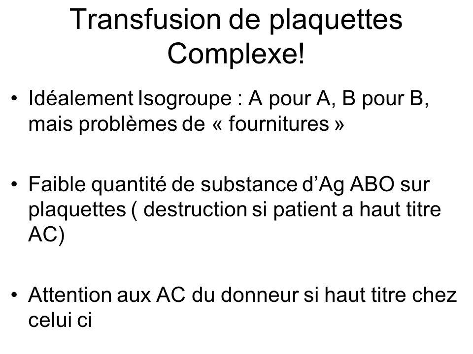 Transfusion de plaquettes Complexe! Idéalement Isogroupe : A pour A, B pour B, mais problèmes de « fournitures » Faible quantité de substance dAg ABO