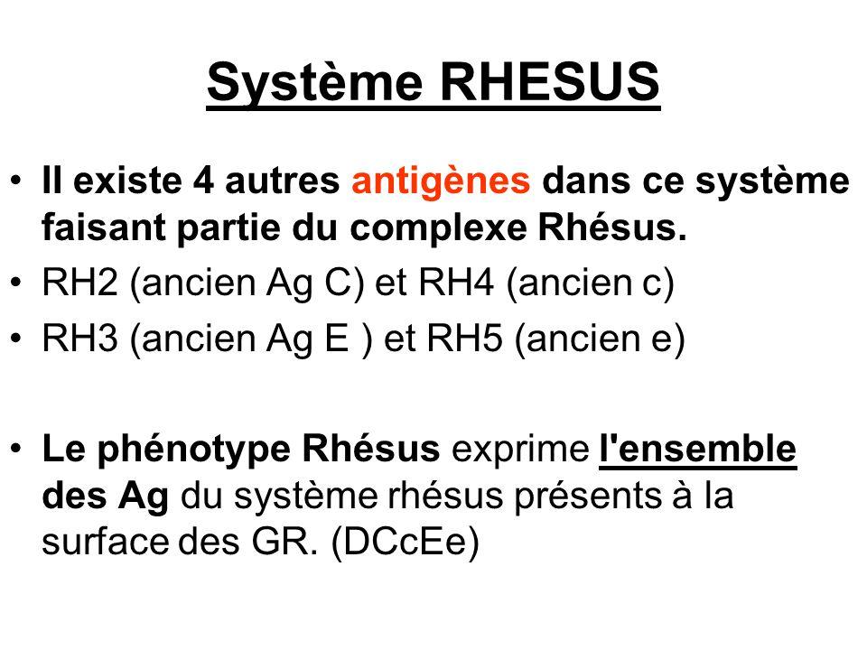 Système RHESUS II existe 4 autres antigènes dans ce système faisant partie du complexe Rhésus. RH2 (ancien Ag C) et RH4 (ancien c) RH3 (ancien Ag E )