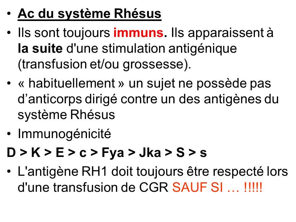 Ac du système Rhésus Ils sont toujours immuns. Ils apparaissent à la suite d'une stimulation antigénique (transfusion et/ou grossesse). « habituelleme