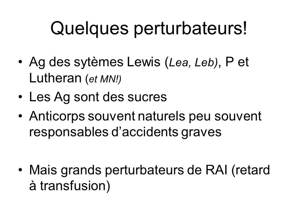 Quelques perturbateurs! Ag des sytèmes Lewis ( Lea, Leb), P et Lutheran ( et MN!) Les Ag sont des sucres Anticorps souvent naturels peu souvent respon