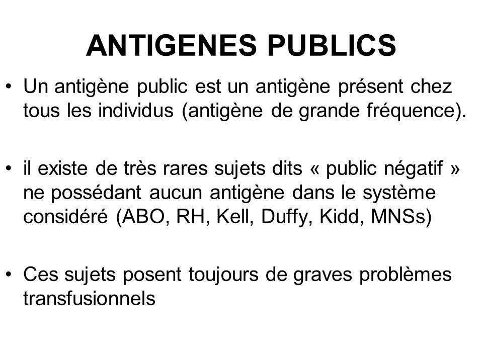 ANTIGENES PUBLICS Un antigène public est un antigène présent chez tous les individus (antigène de grande fréquence). il existe de très rares sujets di