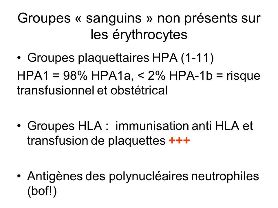 Groupes « sanguins » non présents sur les érythrocytes Groupes plaquettaires HPA (1-11) HPA1 = 98% HPA1a, < 2% HPA-1b = risque transfusionnel et obsté