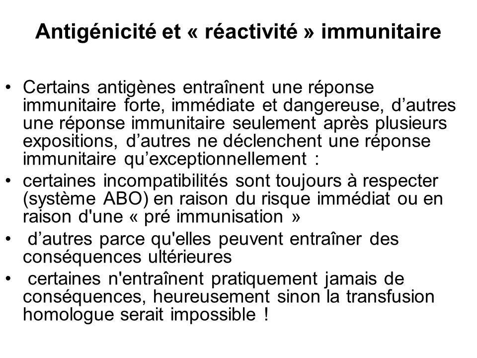 Antigénicité et « réactivité » immunitaire Certains antigènes entraînent une réponse immunitaire forte, immédiate et dangereuse, dautres une réponse i